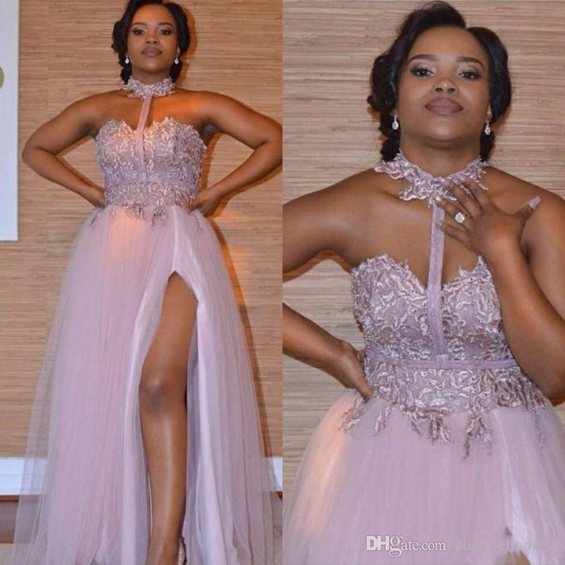 Plus Size Dusty Pink Halter Prom Dresses 2019 Sweetheart Lace Appliques  Side Split Evening Gown African Cheap Maid Of Honor Bridesmaid Dress Red  Prom ...