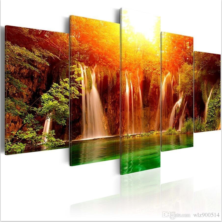 (프레임 없음) 5PCS / Set 현대 풍경 그린 레이크 아트 인쇄 Frameless 캔버스 회화 벽 그림 홈 인테리어