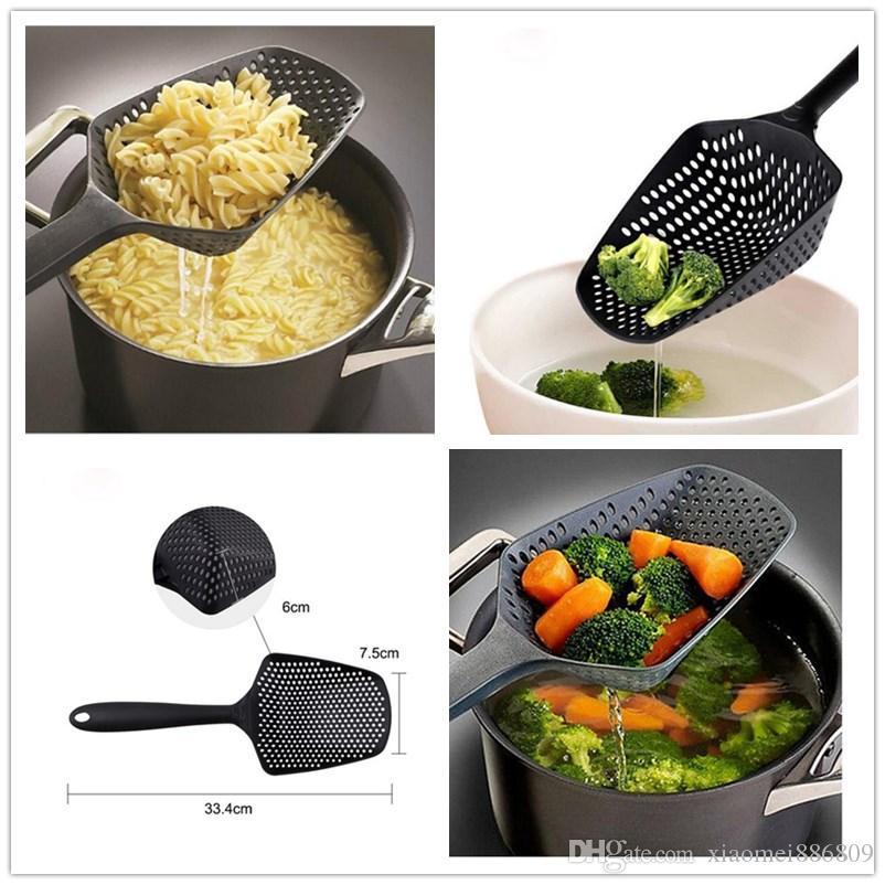 Neue Art und Weise Schwarz Große Schaufel Seiher Seiher Umwelt Nylons Pasta Hitzebeständige Sieb Praktisches Küchenzubehör