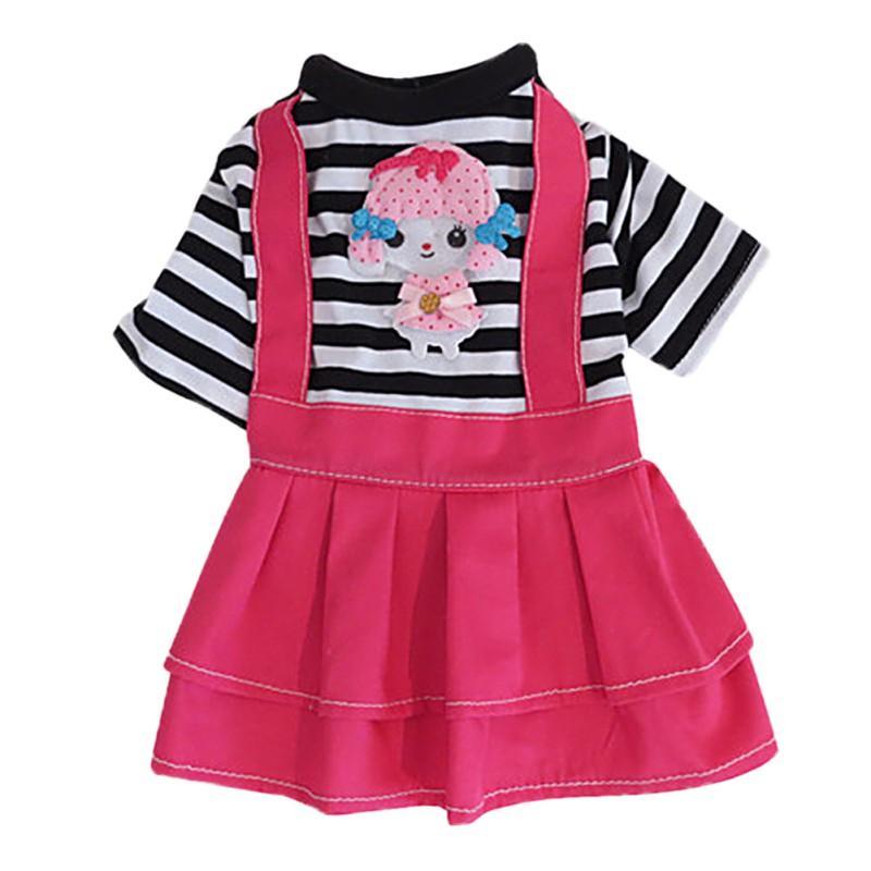 봄과 여름 테디 의류 도트 강아지 드레스 만화 핑크 스트라이프 애완 동물 스커트 개 애완 동물 의류 강아지