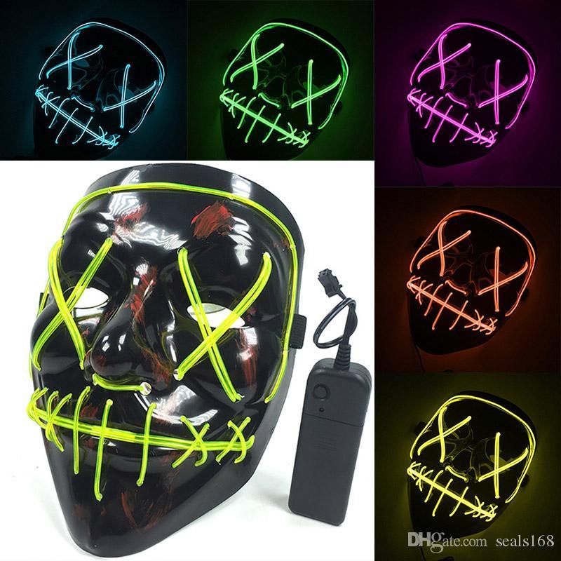 Led Cadılar Bayramı Neon Maske Light Up Tasfiye Maske Kafatası Komik Masquerade Kostüm Seçim Parti Maskeleri Glow Karanlık Korkunç Film Cosplay HH7-1719