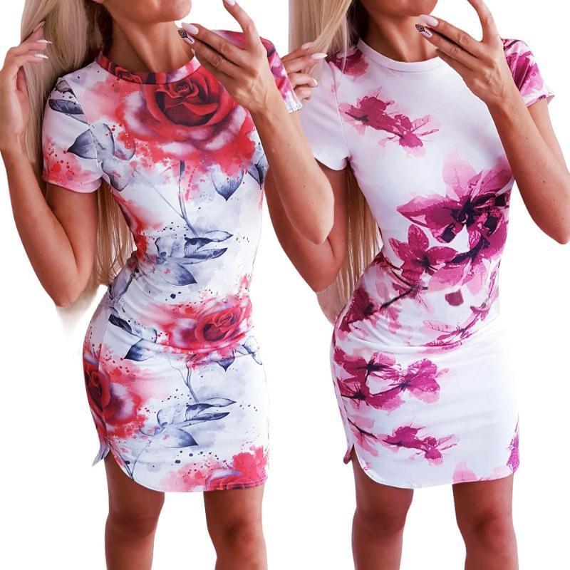 Yeni 2020 Yaz Mini Elbise Seksi İnce BODYCON Paketi Kalça Kalem Büro Lady Elbise Kadınlar Kısa Kol Çiçek Baskı