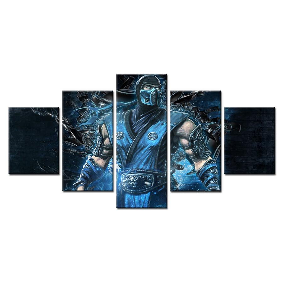 Mortal Kombat Sub Zero,5 Pieces HD Canvas Printing New Home Decoration Art Painting/Unframed/Framed