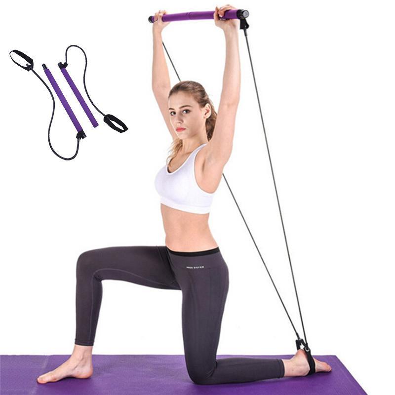 Pilates Bar Yoga Pilates Resistance Band Memory Stick Home Gym Yoga exercice Bar de remise en forme avec 2 boucles de pied extensible bâton de culturisme
