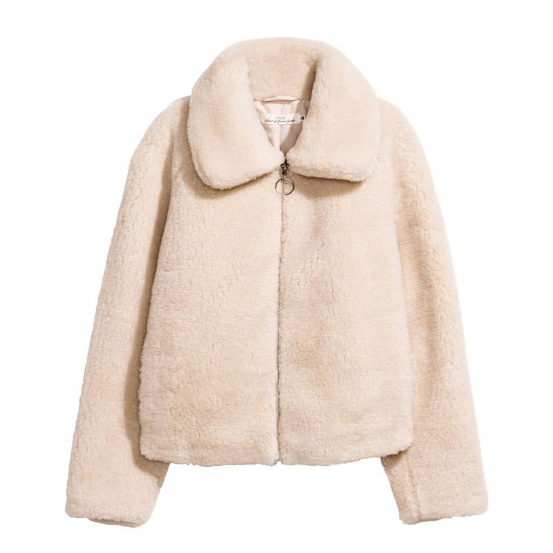 PERHAPS U kadınlar siyah haki faux fur ceket fermuar turn down yaka yüksek sokak C0128