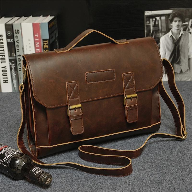 2019 Nuova Cartella in pelle Moda Uomo di grande capacità borse business Brown Bag Black Male Leather Shoulder Laptop CJ191201