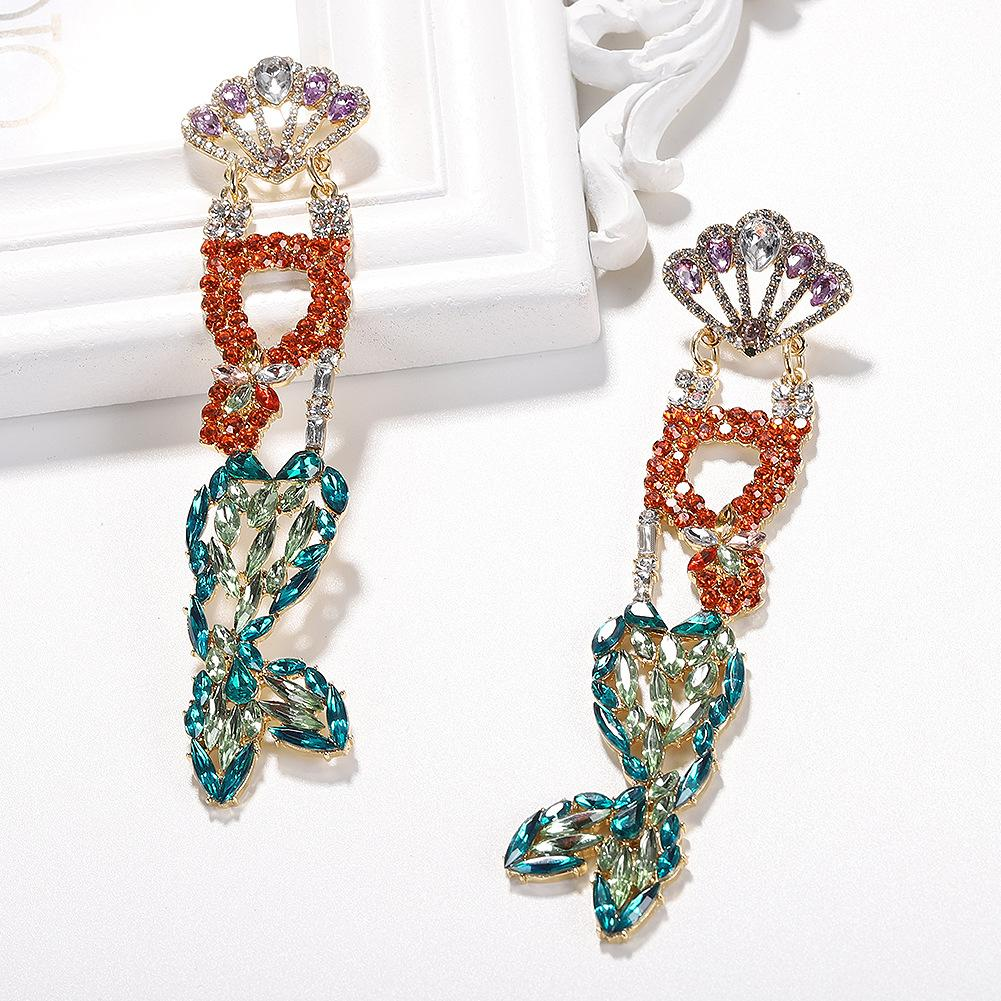 concepteur gros- exagérée belle belle queue de poisson mignon océan scintillant cristal de diamant boucles d'oreilles longues pendentif pour les femmes filles