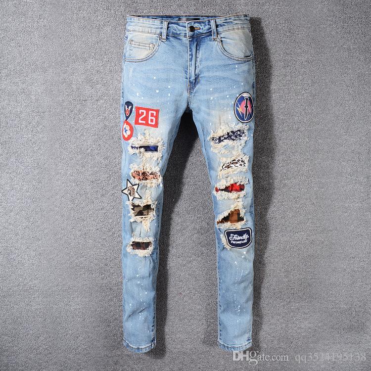 Yüksek sokak trendi Motosiklet Pantolon sıcak satış eski açık yeşil delik nakış ince kot pantolon erkek tasarımcı kot