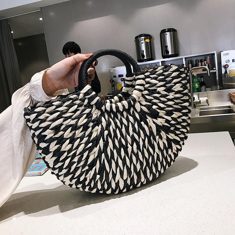 Femminile Straw Beach Bag Tote Crossbody Borse Donna 2019 Estate di vimini del progettista delle borse delle signore Rattan Shoulder Bag Messenger Sac A