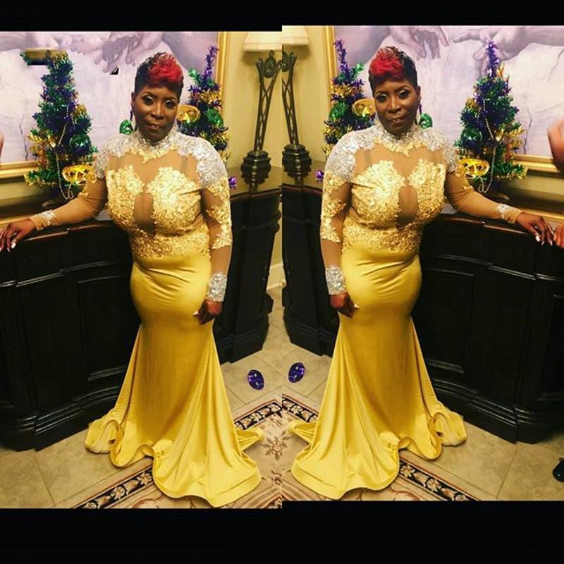 Más el tamaño de vestido de noche de la sirena del vestido de festa abiye bata e velada de África del vestido formal del vestido de noche de manga larga elegante