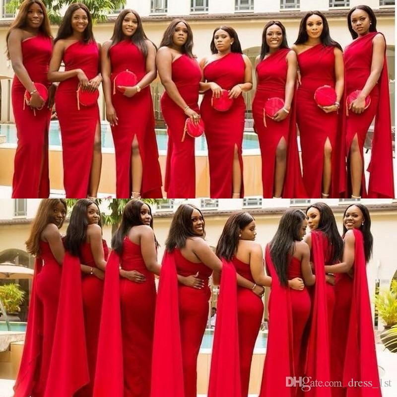 2019 New Design African Bridesmaid Dresses Sexy One Shoulder Mermaid Watteau Train Red Bridesmaids Dresses Formal Wedding Party Dresses
