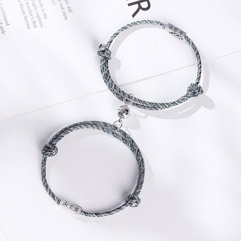 2pcs pulseira casal amor símbolo da amizade corda trançada Distância Jóia magnética para o amante amigos Irmãs SP99