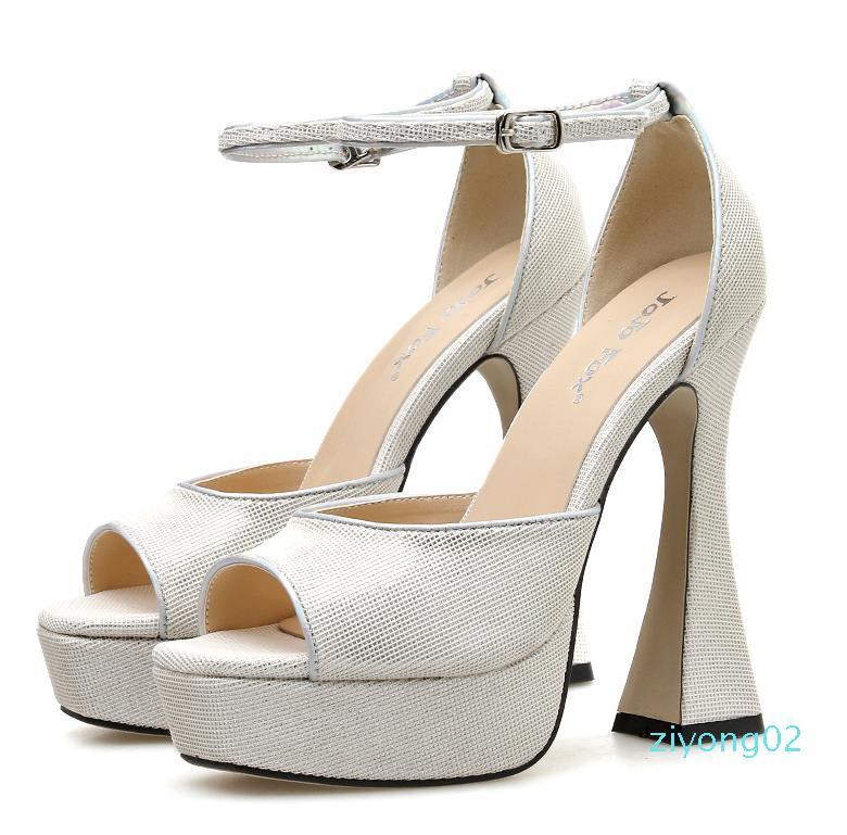 sexy Party Nachtclub Tanzschuhe schwarz Blickzeheplattform starke Ferse Schuhe Luxus Frauen Designer-Schuhe Größe 35 bis 41 02Z