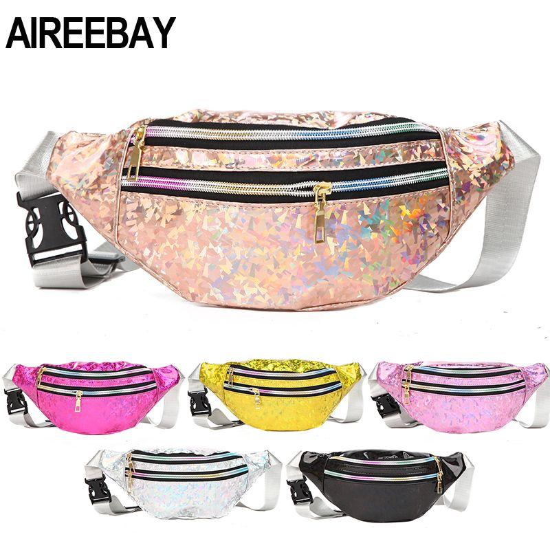 AIREEBAY 3-bolsillo con cremallera Mujer holográfica Fanny Pack de rosa con lentejuelas de plata paquete de la cintura para las mujeres con láser en el pecho del vago holograma Bolsas
