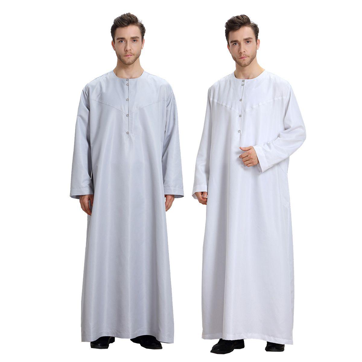 Muslimische Kleidung Kaftan Dubai Musulman Long Sleeves Weiß Thobes Islamic Homme Kleidung Sommer Islamische Kleidung Männer Roben DK755MZ