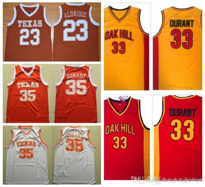 NCAA Vintage Texas Longhorns 35 Kevin Durant College Basketball Jerseys 33 Kevin Durant Oak Hill High School Stitched Shirts