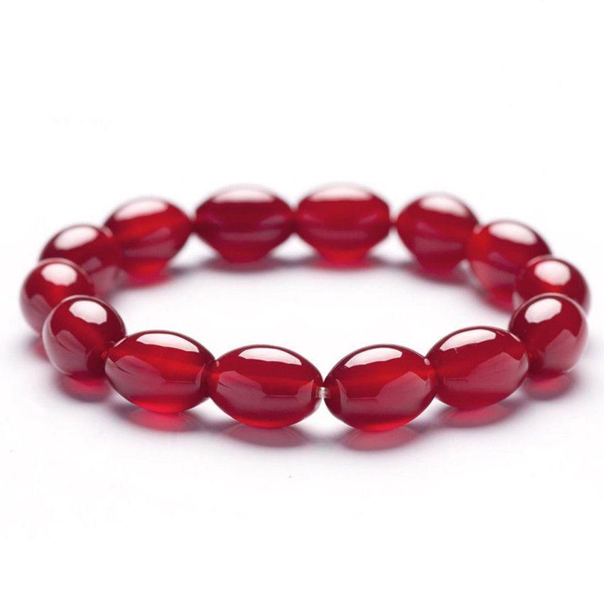Wholesale 10 Pcs Handmade Weave Geometric Red Agate Beads Elastic Bracelet Green Aventurine Ethnic Style Jewelry