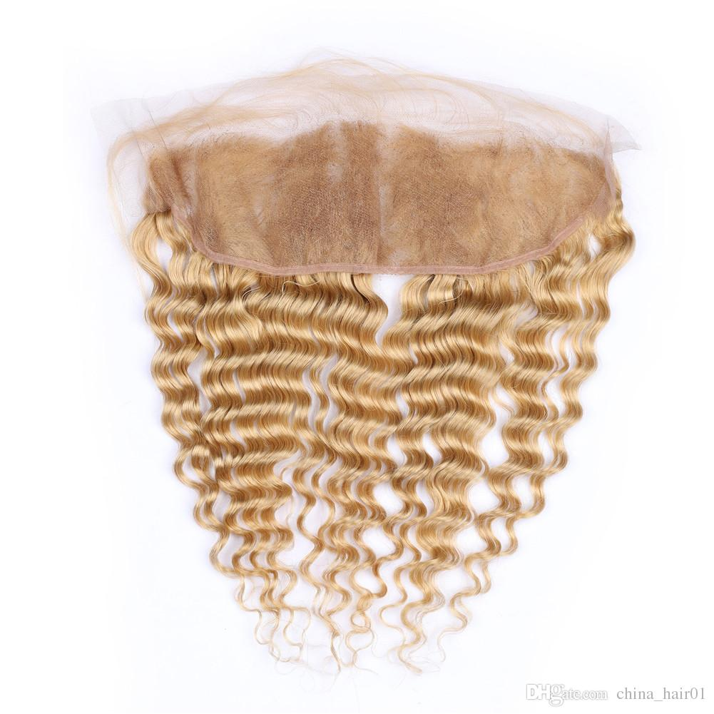 Deep Wave Virgin Brazilian Honey Blonde Human Hair Lace Frontal Closure 130 Density #27 Light Brown Ear to Ear Full Lace Frontals