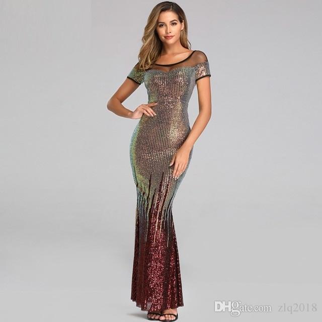 2019 Scoop Neck Mermaid Abendkleider mit kurzen Ärmeln Backless Sequin preiswerten Gold-Abend-Partei-Kleid