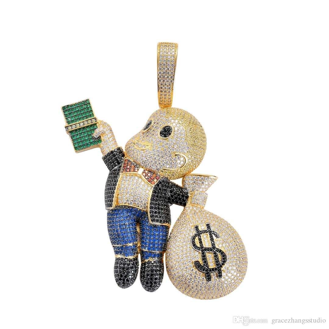Hip Hop rasiert Kopf Junge Anhänger Halsketten für Männer Frauen Geld Junge echt vergoldet Kupfer Zirkone Luxus Halskette zwei Farben goldene Silber