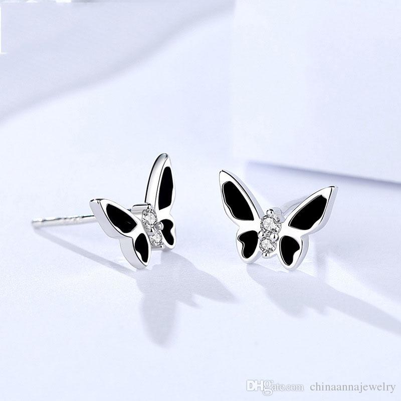Lovely Animal Butterfly Zirconia Womens Earrings 925 Sterling Silver Cute Korean Stud Earring for Girls Wholesale Free Shipping