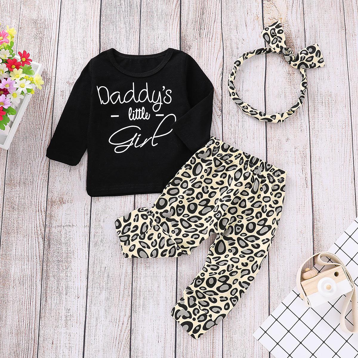 Emmababy малыш дети девочка с длинным рукавом повседневная O-образным вырезом топы леопардовый принт брюки леггинсы 3 шт. наряды одежда