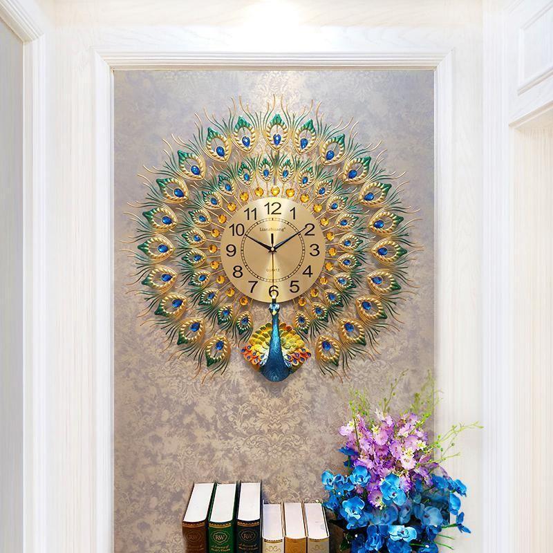Saatler Tavuskuşu Duvar Saati Oturma Odası Ev Moda Büyük Duvar İzle Dekorasyon Saat Yaratıcı Sessiz Kuvars 20 İnç