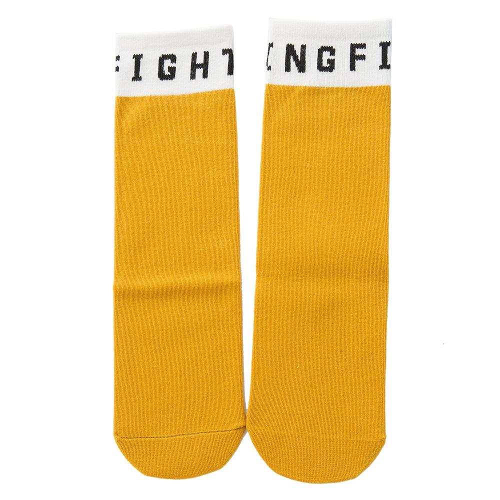 Femmes Flat Tricoté Crew Chaussettes hautes Lettre cheville Motif coton épais évacuant l'humidité chaud d'hiver de veau Sock solide Haute école de filles étudiant