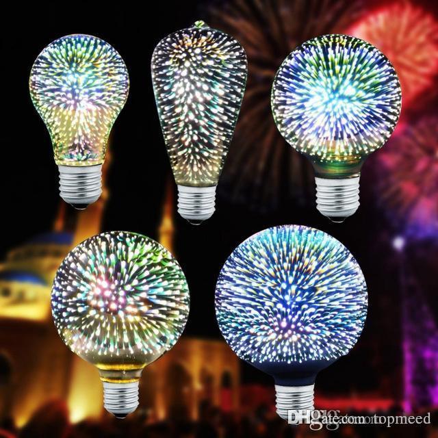 حار 3D ستار أدى لمبة E27 ملونة الألعاب النارية اديسون المصباح A60 ST64 G80 G95 G125 الجدة مصباح ريترو خيوط الضوء