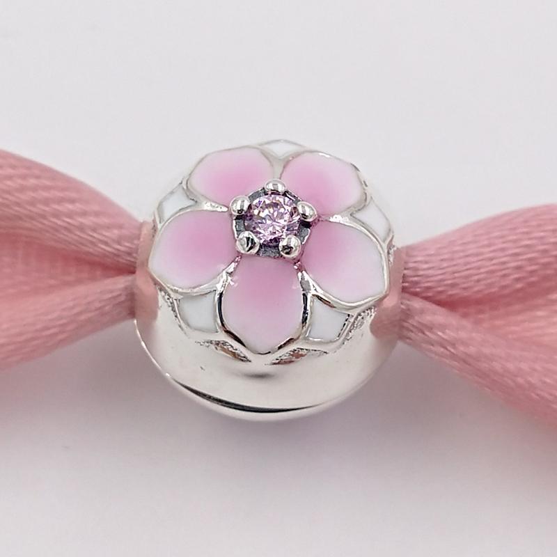 Authentic 925 Sterling Silver Perline Magnolia Blom, Cerise pallido Smalto Pink CZ Charms Adatto a Braccialetti europei Bracciali per gioielli in stile Pandora