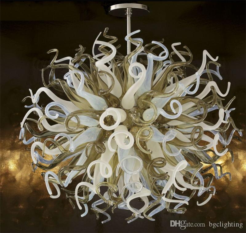 2019 Nouvelle arrivée moderne Cristal soufflé bouche en verre Lustre Éclairages Lumières plafond de verre soufflé à la main pour Hôtel Lobby Décor