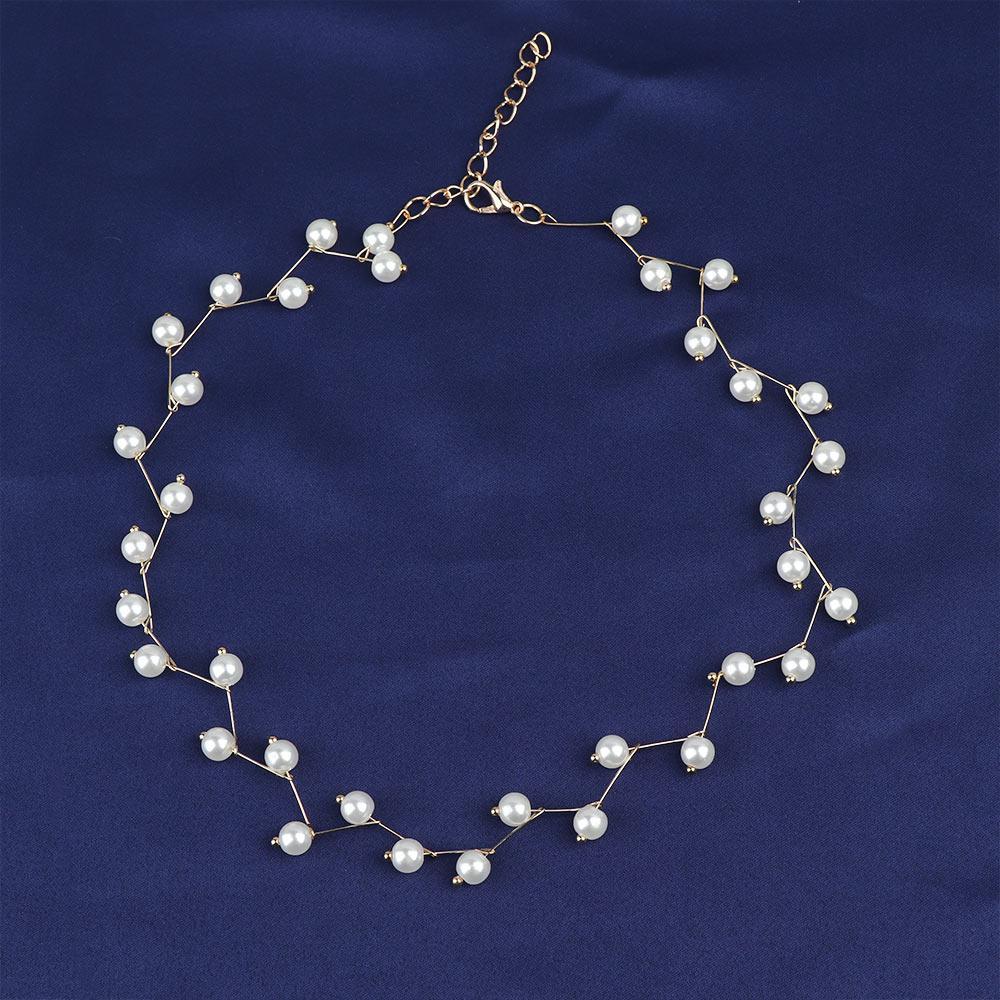 Trendy Elegance Collier tendance charme Simulations Perles perle Collier ras du cou pour les femmes coréenne Femme collier tour de cou