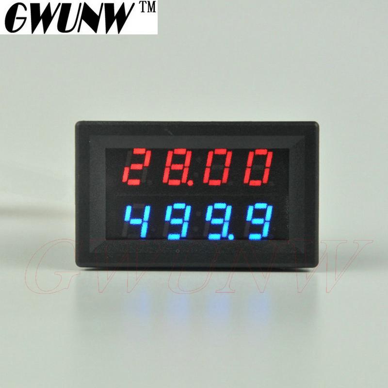 GWUNW BY42A 30V 1A DC 4 bits digitales de voltaje del probador del amperímetro del voltímetro de corriente Medidor de doble pantalla LED Verde Azul Rojo