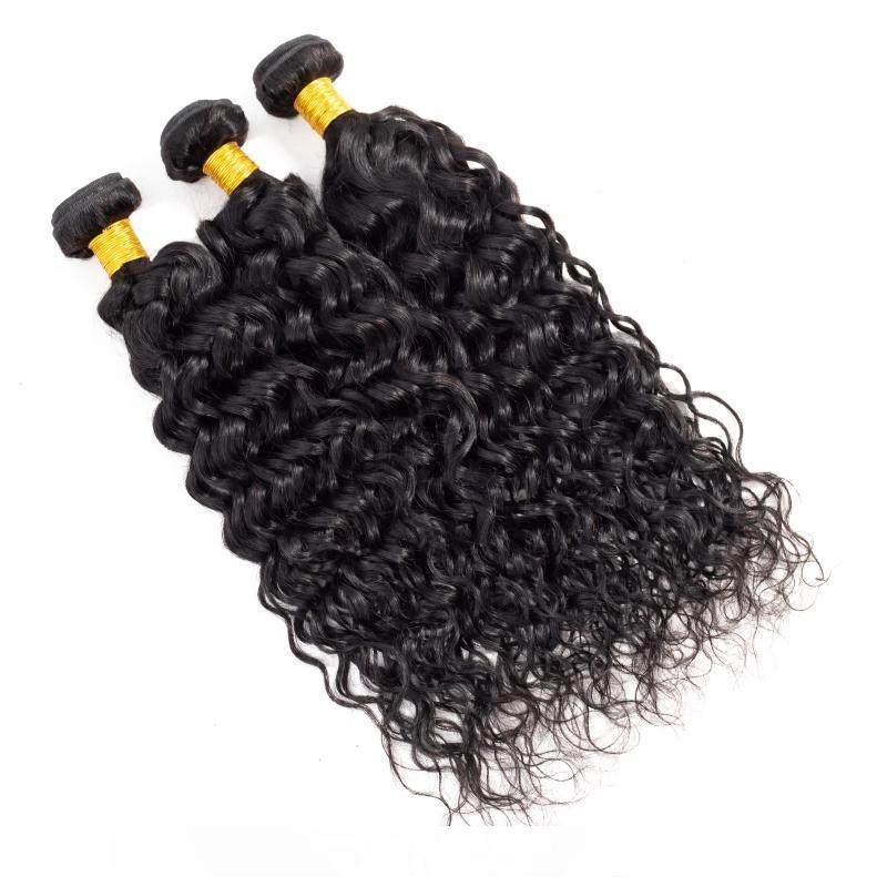 Un Brésilien cheveux humains Vague 3 Bundles Avec 360 Dentelle Frontal 4pieces Lot humide et onduleux Pré plumé Dentelle Frontal Avec Bundle cheveux Ex