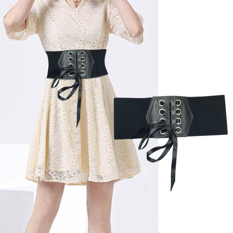 Lady Stylish White Wide Plastic Buckle Waist Band Belt Lace up Corset Cinch