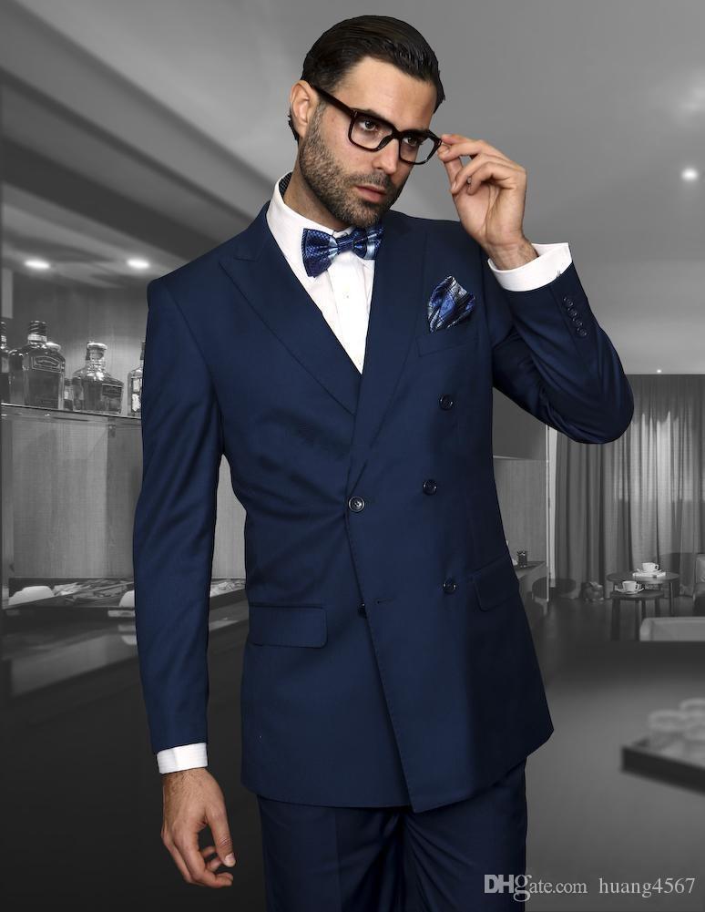 새로운 잘 생긴 더블 브레스트 네이비 블루 웨딩 신랑 턱시도 피크 옷깃 Groomsmen 남자 복장 댄스 파티 (자켓 + 바지 + 타이) 220