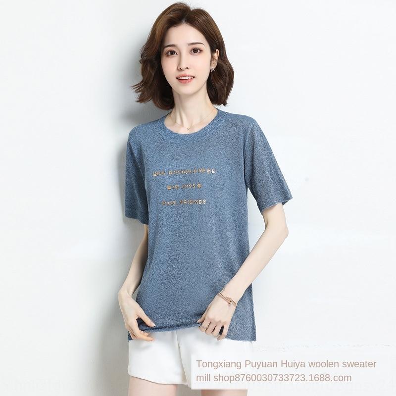 Золото Корейский темперамент шелка с короткими рукавами футболки футболки свитер женщин летом новый Шелковый стиль свободный лед все-матч свитер M17mR