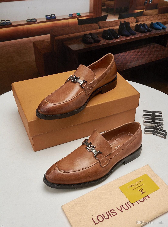 20ss New Luxury Brands Scarpe in pelle da uomo Scarpe da sposa formale Abito scarpe Scarpe Affari Oxfords Designers Oxford per gli uomini Sapato sociale
