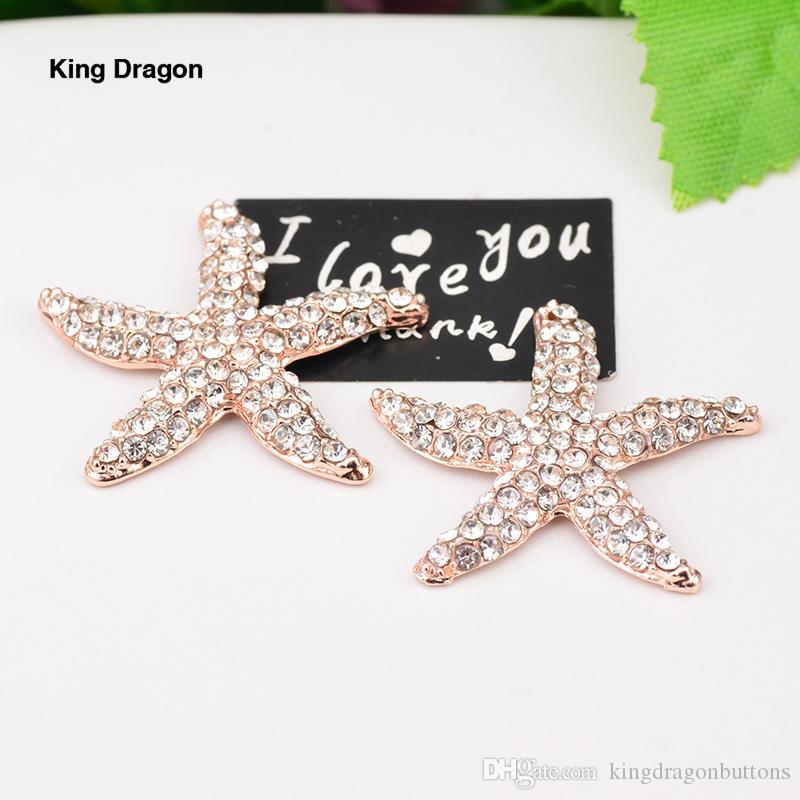 Chegada nova Rose Gold Rhinestone Embellishment Starfish Botão Usado No Casamento Ou Decoração Do Telefone 32 MM 20 Pçs / lote Apartamento de Volta