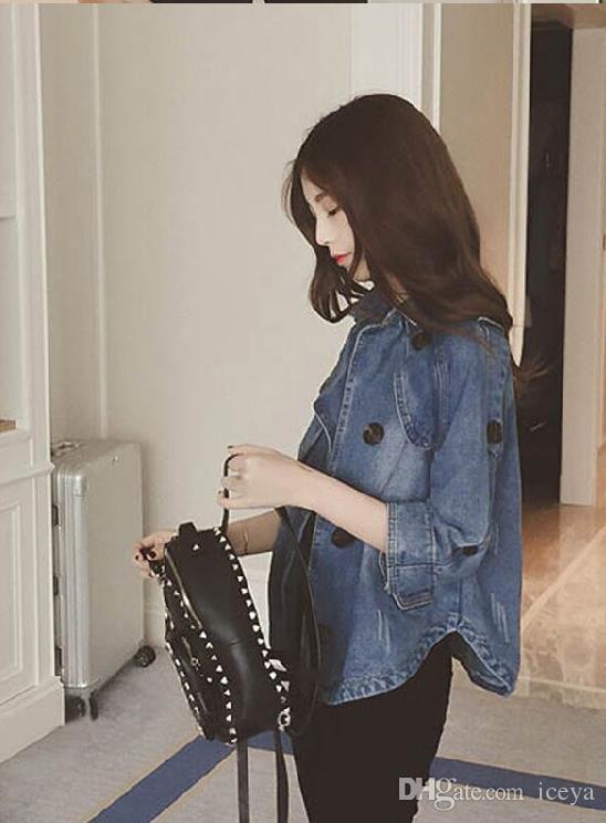 Autunno nuova versione coreana del bicchierino jolly rivestimento sottile giacca casual tre quarti del Capo manica della giacca da cowboy donna