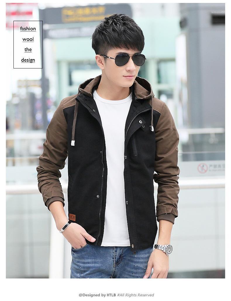 Ocasionales adelgazan prendas de vestir exteriores para hombre con bolsillo de diseño chaquetas Regular Longitud cremallera con capucha abrigos con paneles de ropa de manga larga