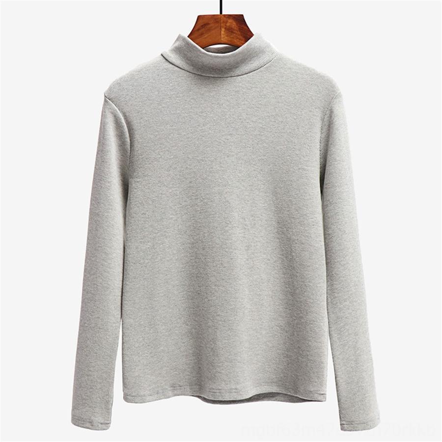 autunno base del collare mezza altezza della banda di colore puro sottile versatile lungo manicotto base del cotone della maglietta femmina