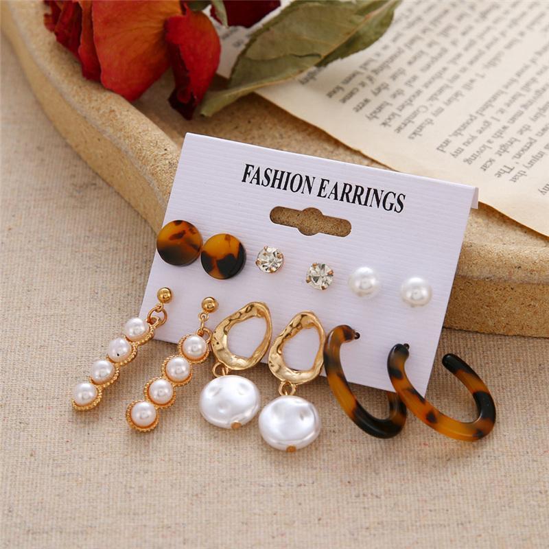 Fashion Heart Crystal Pearl Earring Set For Women Oversize Circle Hoop Earrings Leopard Acrylic Tassel Long Earrings DIY Jewelry