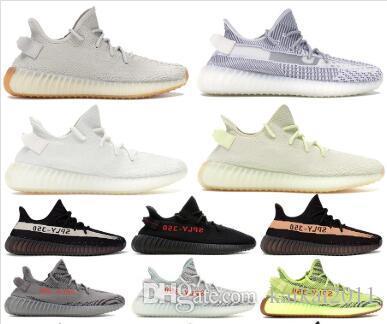 35o zapatos baratos de los hombres zapatos de diseño zapatillas de deporte de las mujeres Bred semi congelado sésamo Kanye West zapatos corrientes mujeres crema zapatillas de cebra blanco
