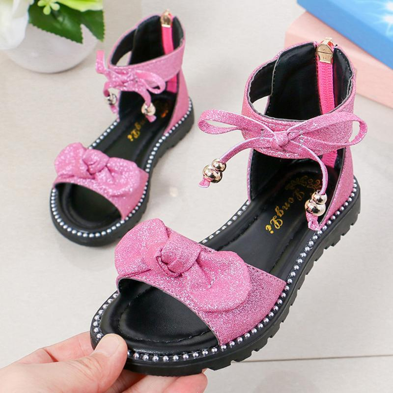 Toddler Girls Summer Booties Leather High Top Tassel Sandals Baby Wedding Party Dress Shoes Bling Sequins Flats