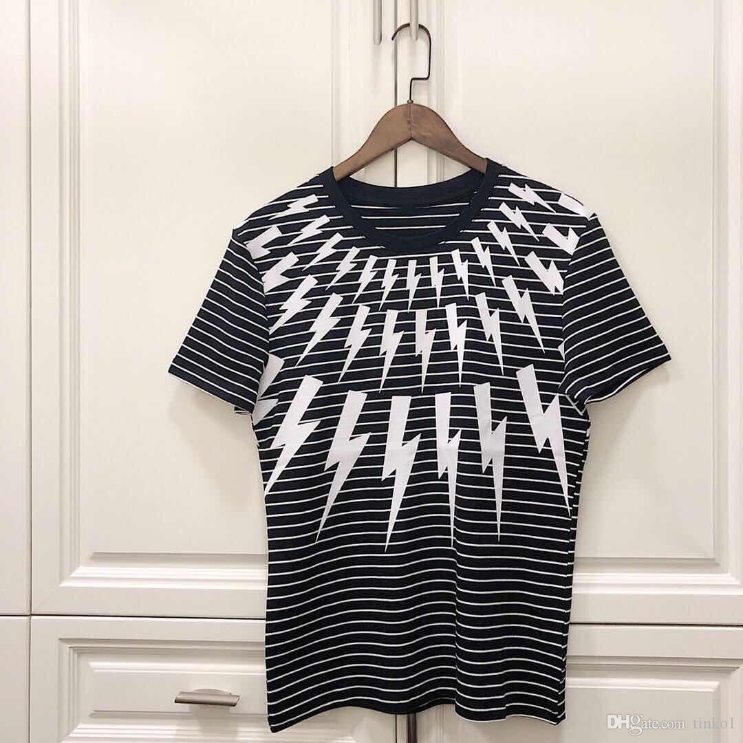 2019 Новые мужские футболки Повседневная одежда с молниеносным принтом для мужчин Хлопковая футболка Мужская футболка с хип-хопом Топы