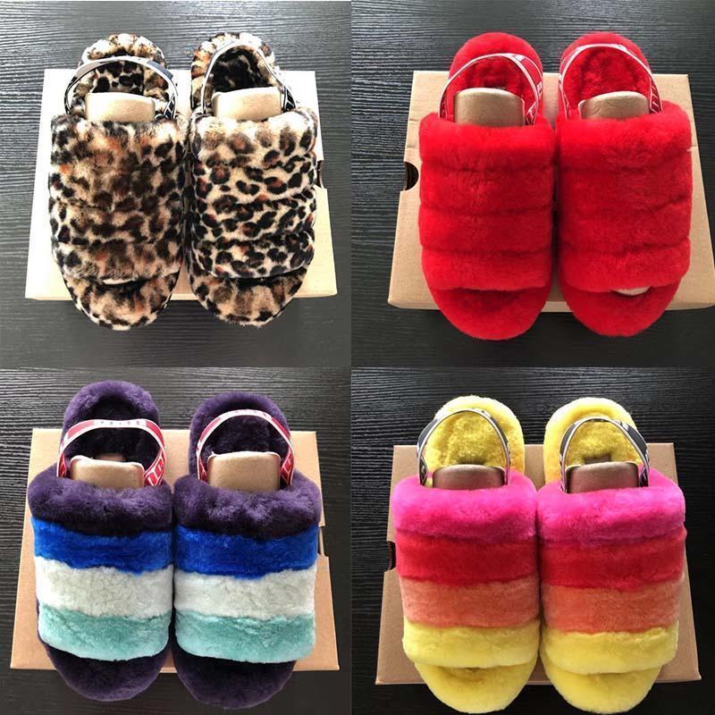 2020 Fluff Evet neon Sarı Mavi FurSlipper Hausschuhe Moda Lüks Pantoufles de Kadınlar Sandalet Pantoufle Kadınlar Kürklü Slipper3574 # kaydırın