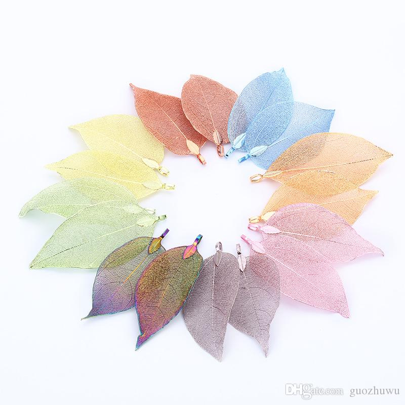 New Multicolor Natural Leaf Pendants for Necklace Earring Making DIY Pendant Beads Jewelry Charms Findings Special Gifts for Women Girls