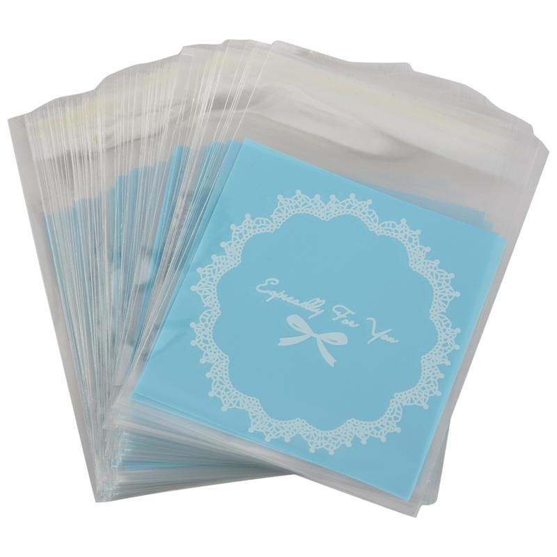 (Blau) 10 * 10 cm Selbstklebende nette Bäckerei Bowknot Geschenk DIY Cookie Opp Candy Keks Rösting Schöne PCs behandeln Plastiktüte 100 mrill