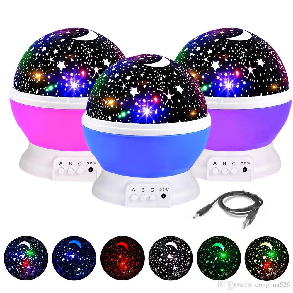3 Colors LED Rotating Projector Starry Sky Night Lamp Romantic Projection Light Moon Sky Romantic Night Light Novelty